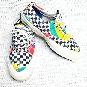 VINTAGE Converse Abstact Checker Sneakers Skidgrip
